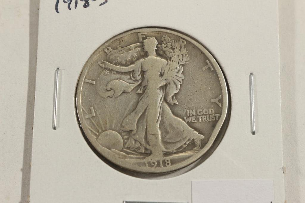 1918-S WALKING LIBERTY HALF DOLLAR WITH RIM BUMP