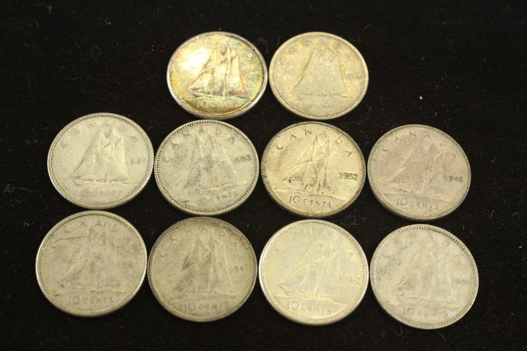 10 ASSORTED CANADA SILVER 10 CENTS
