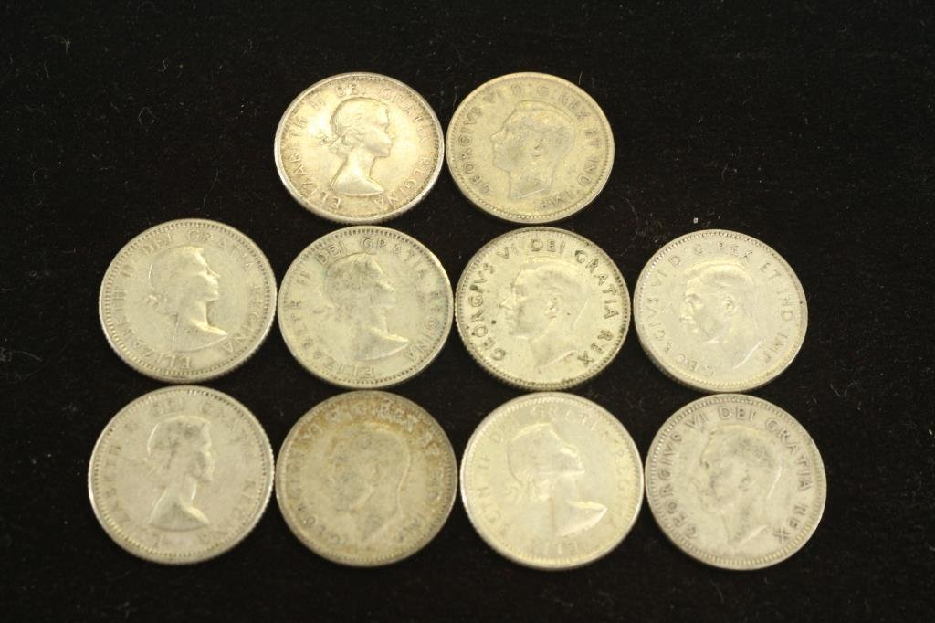10 ASSORTED CANADA SILVER 10 CENTS - 2