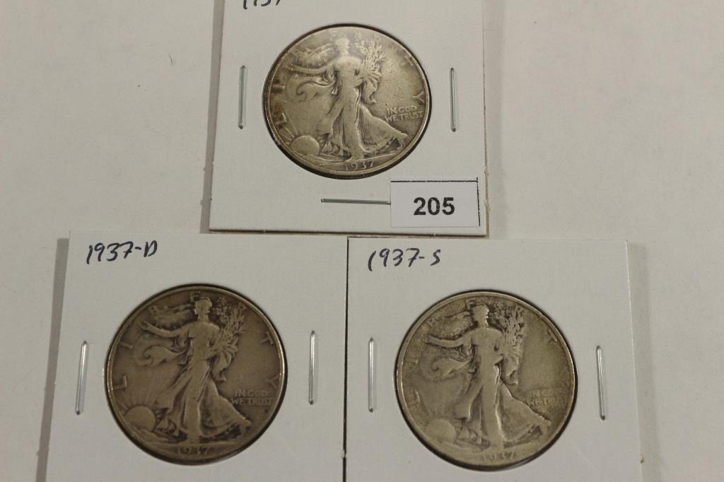 SET OF 1937-P/D/S WALKING LIBERTY HALF DOLLARS