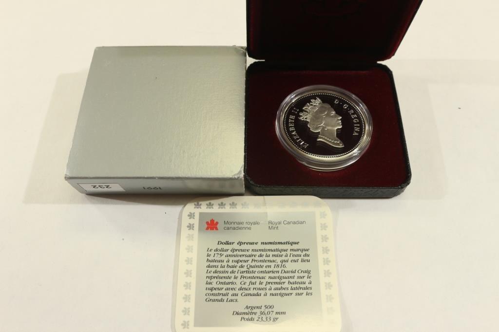 1991 CANADA FRONTENAC SILVER DOLLAR PROOF - 2