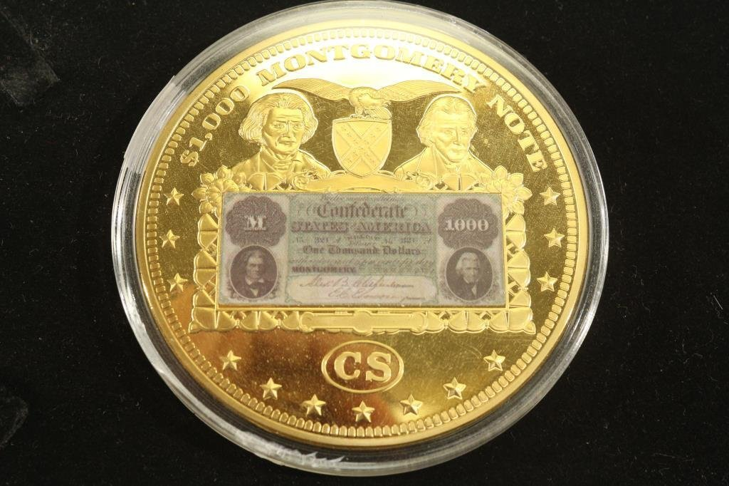 """2 3/4"""" GOLD COLORED PROOF TOKEN FEATURING THE"""