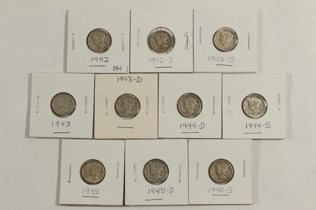 1942-P/D/S,43-P & D,44-D&S & 1945-P/D/S MERCURY