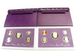 1990  1991 US PROOF SETS WITH BOXES