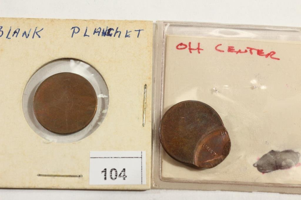 LINCOLN CENT ERRORS BLANK PLANCHET & OFF CENTER