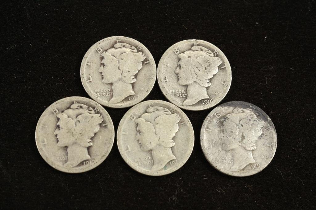 5 ASSORTED TEENS MERCURY DIMES