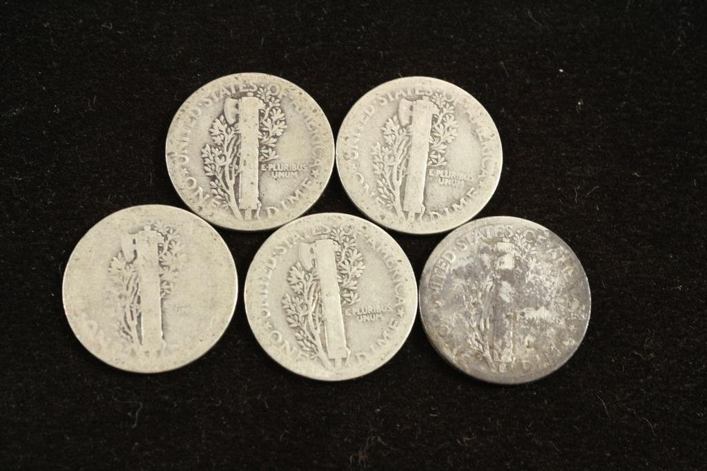 5 ASSORTED TEENS MERCURY DIMES - 2