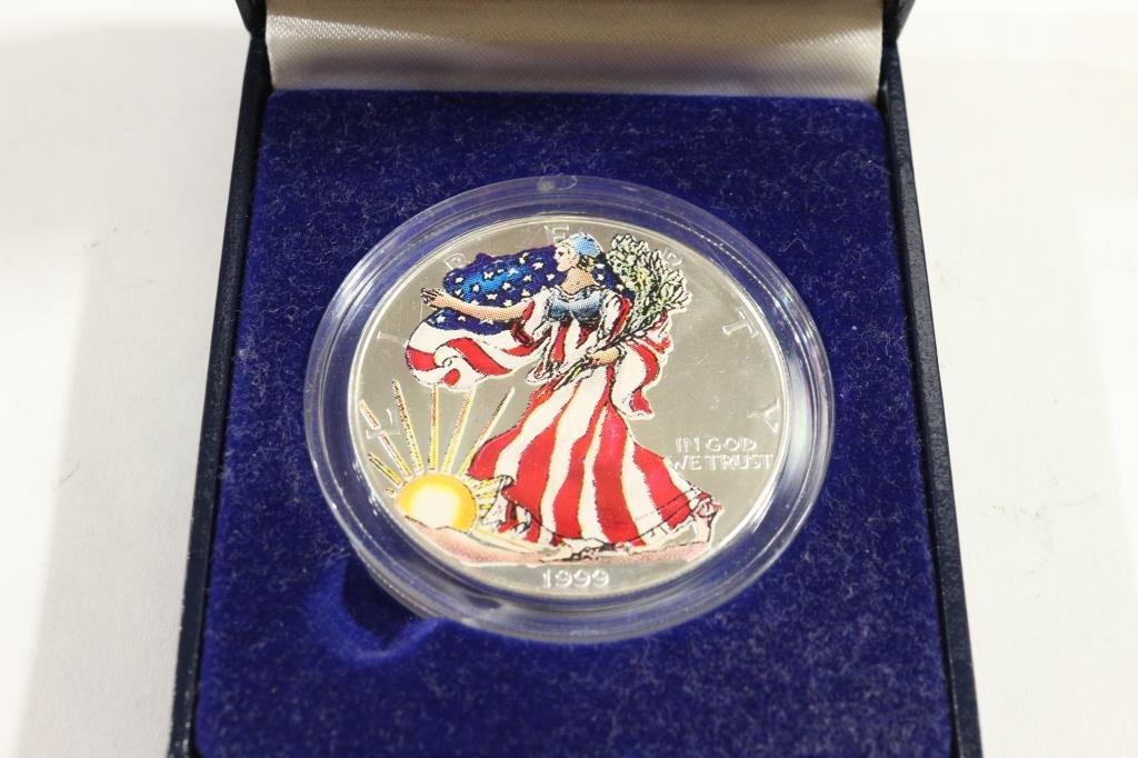 1999 COLORIZED AMERICAN SILVER EAGLE IN BOX