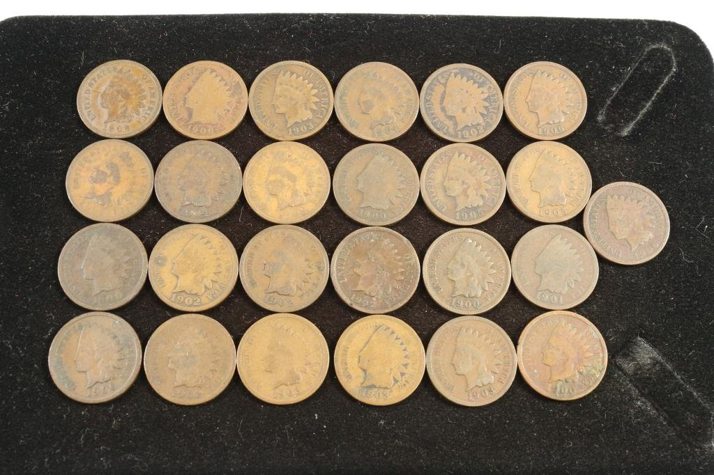 25 ASSORTED INDIAN HEAD CENTS