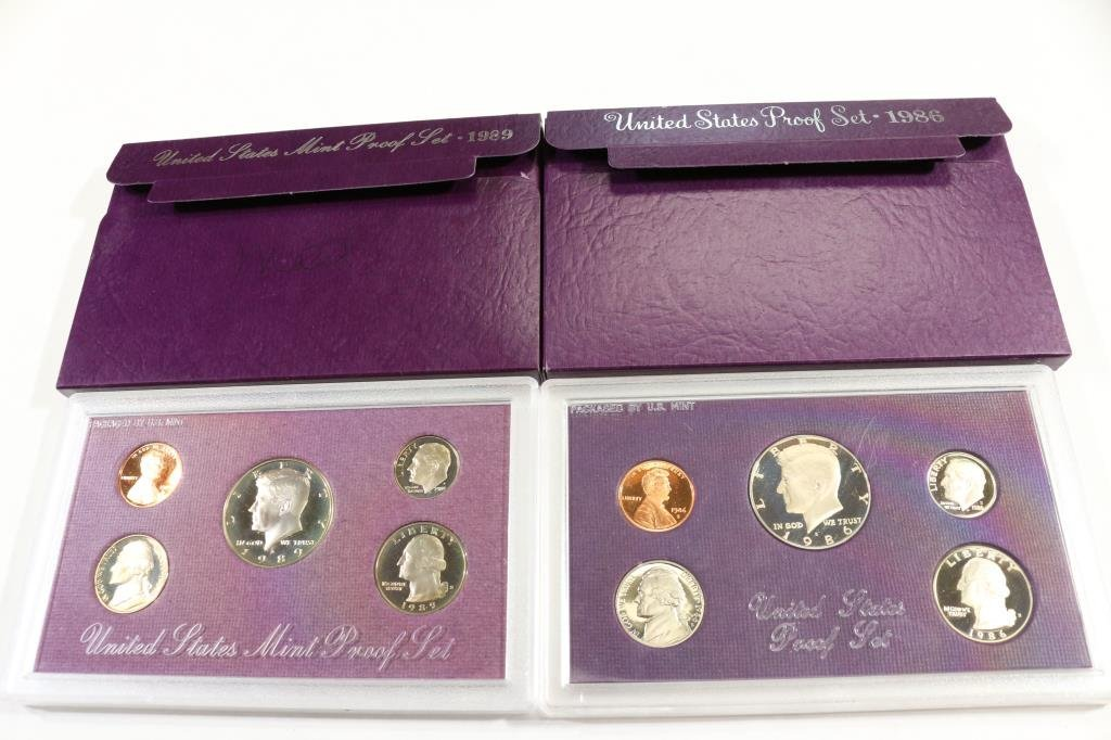 1986 & 1989 US PROOF SETS (WITH BOXES)