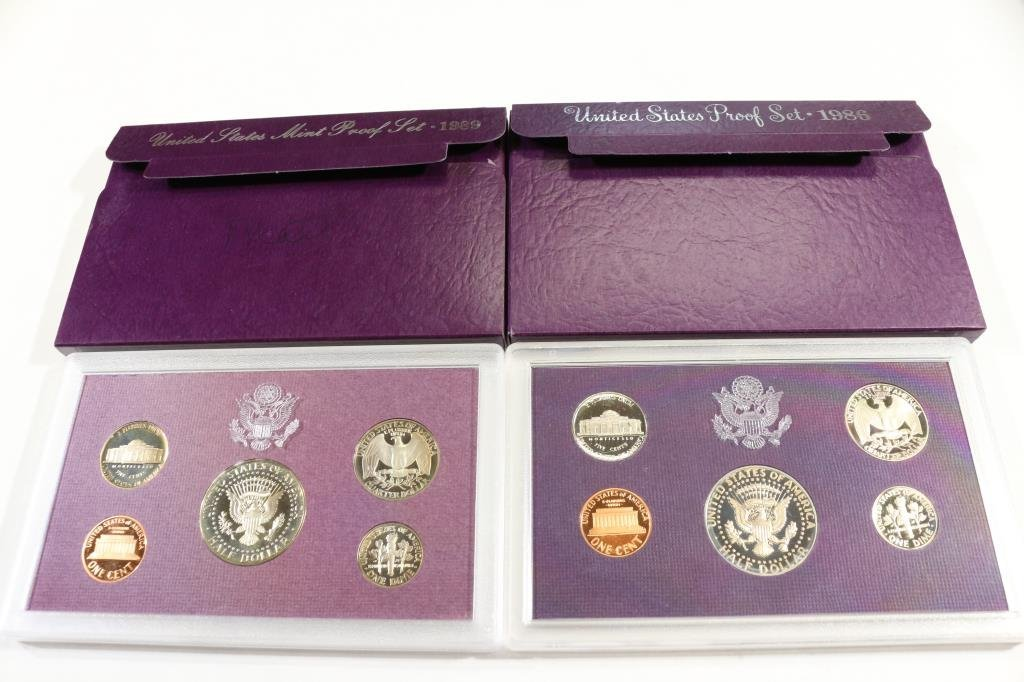 1986 & 1989 US PROOF SETS (WITH BOXES) - 2