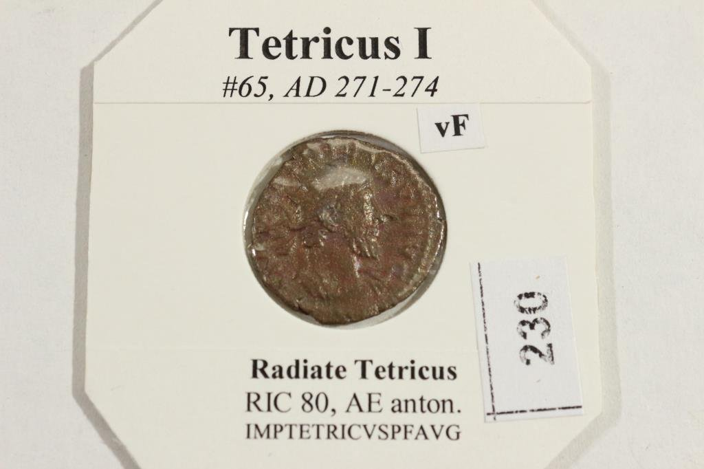 271-274 A.D. TETRICUS I ANCIENT COIN VERY FINE