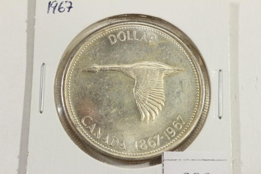 1967 CANADA FLYING GOOSE SILVER DOLLAR UNC