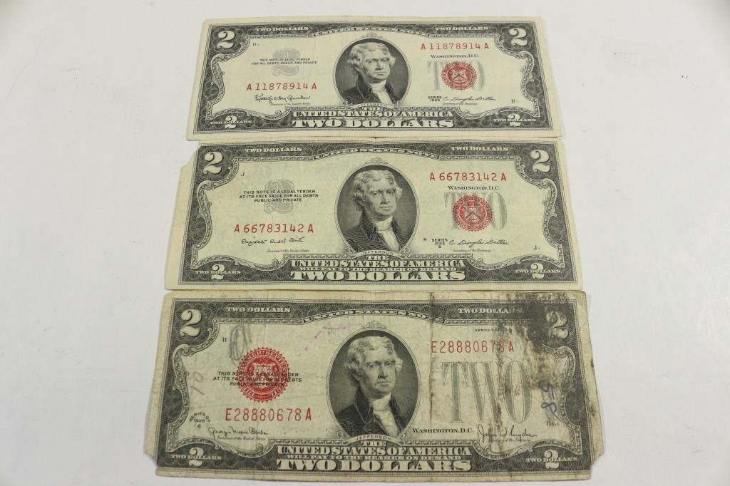 1928-G,53-B & 63 $2 US RED SEAL NOTES