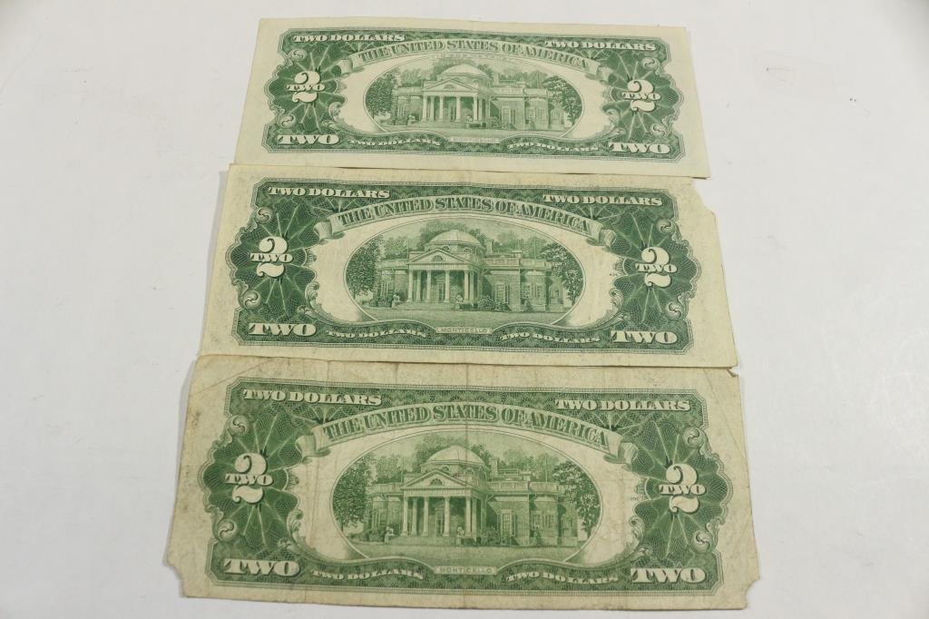 1928-G,53-B & 63 $2 US RED SEAL NOTES - 2