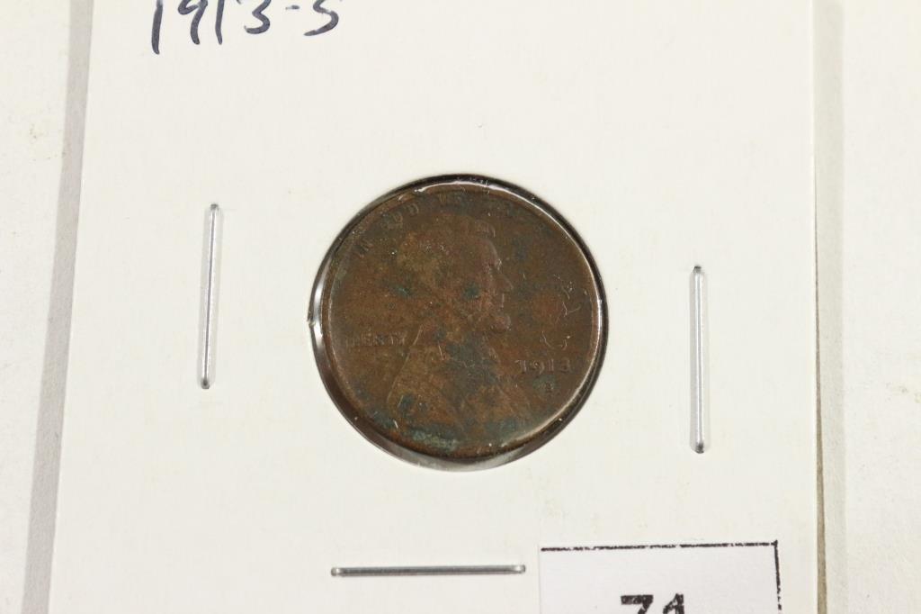 1913-S LINCOLN CENT (SEMI-KEY) VERY FINE