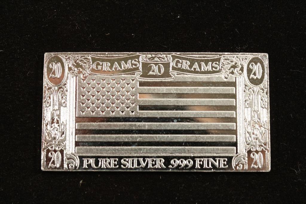 20 GRAM .999 FINE SILVER INGOT ''THE SILVER MINT''
