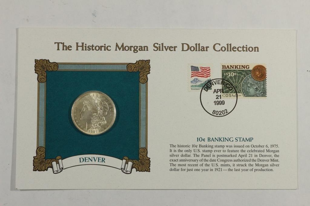 1921 MORGAN SILVER DOLLAR & STAMP SET UNC