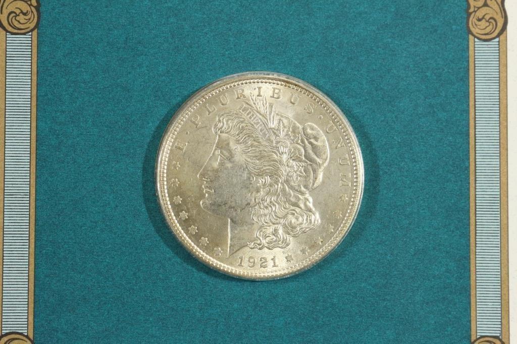 1921 MORGAN SILVER DOLLAR & STAMP SET UNC - 2