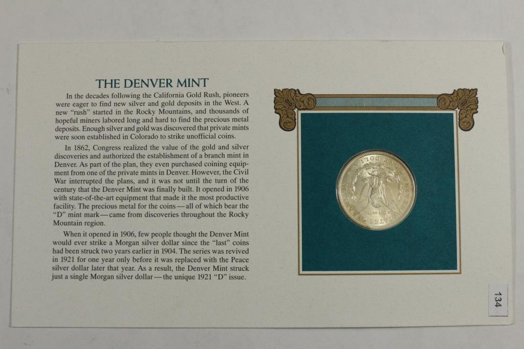 1921 MORGAN SILVER DOLLAR & STAMP SET UNC - 4