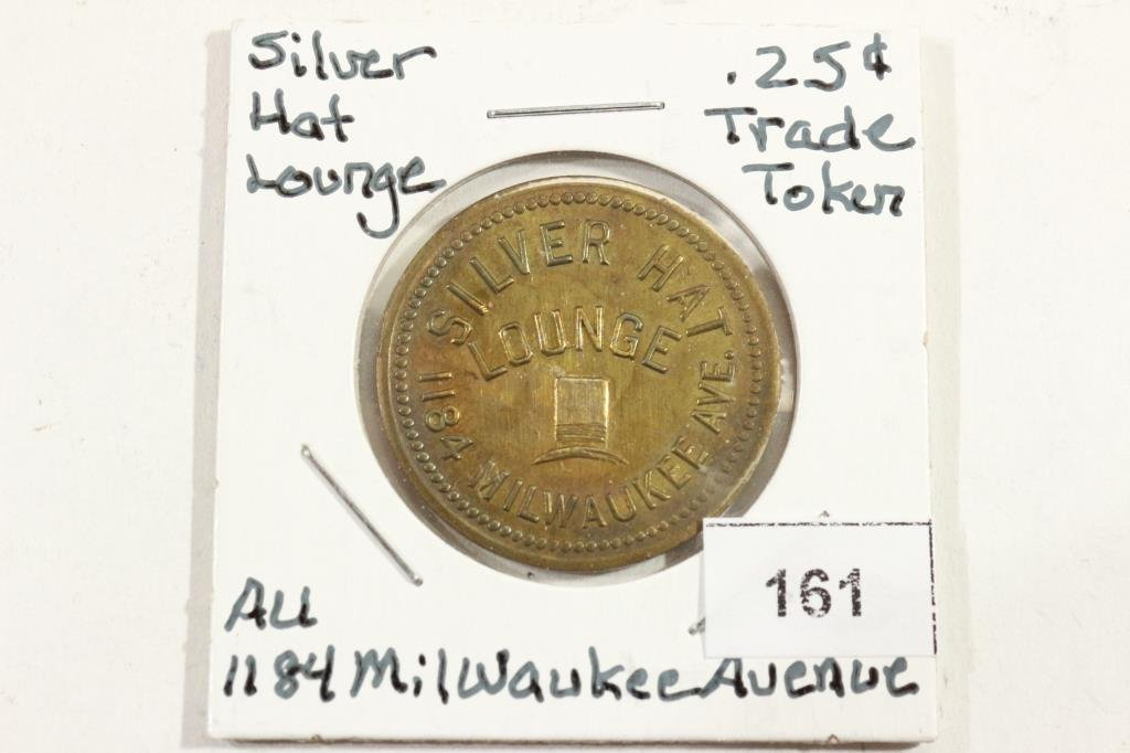 SILVER HAT LOUNGE 25 CENT TRADE TOKEN