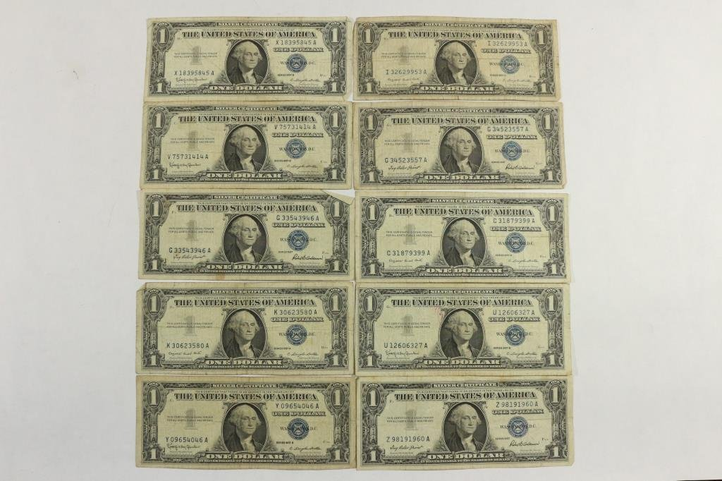 10 ASSORTED 1957 $1 SILVER CERTIFICATES