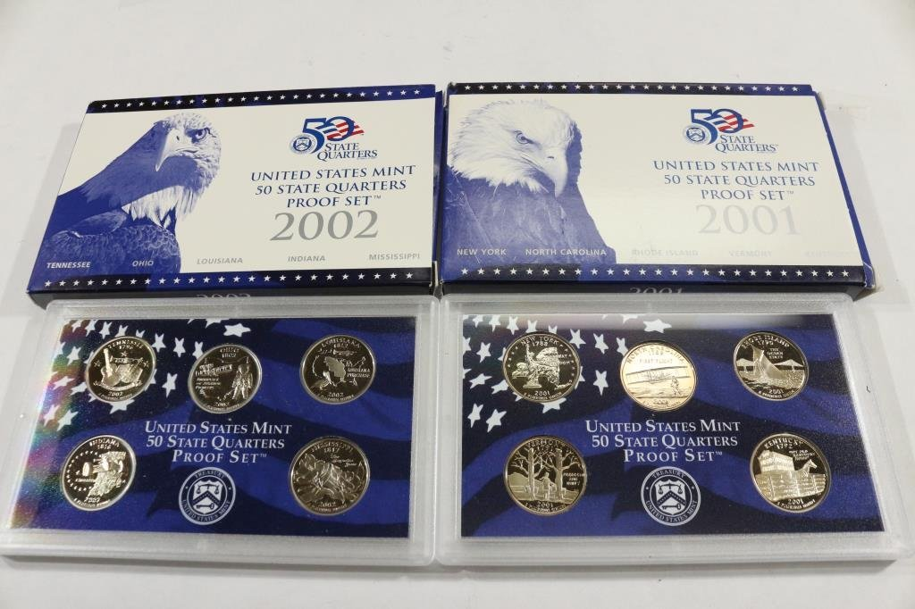 2001 & 2002 US 50 STATE QUARTERS PROOF SETS