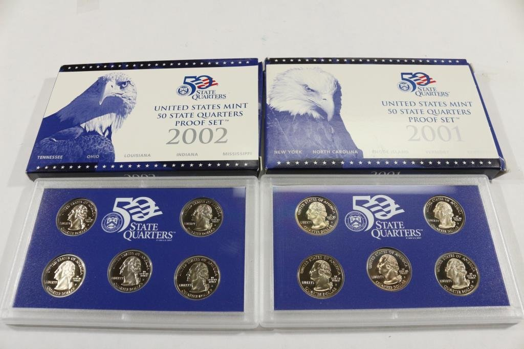 2001 & 2002 US 50 STATE QUARTERS PROOF SETS - 2