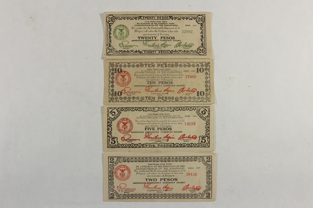 2,5,10 & 20 PESOS WWII PHILIPPINES GUERRILLA MONEY