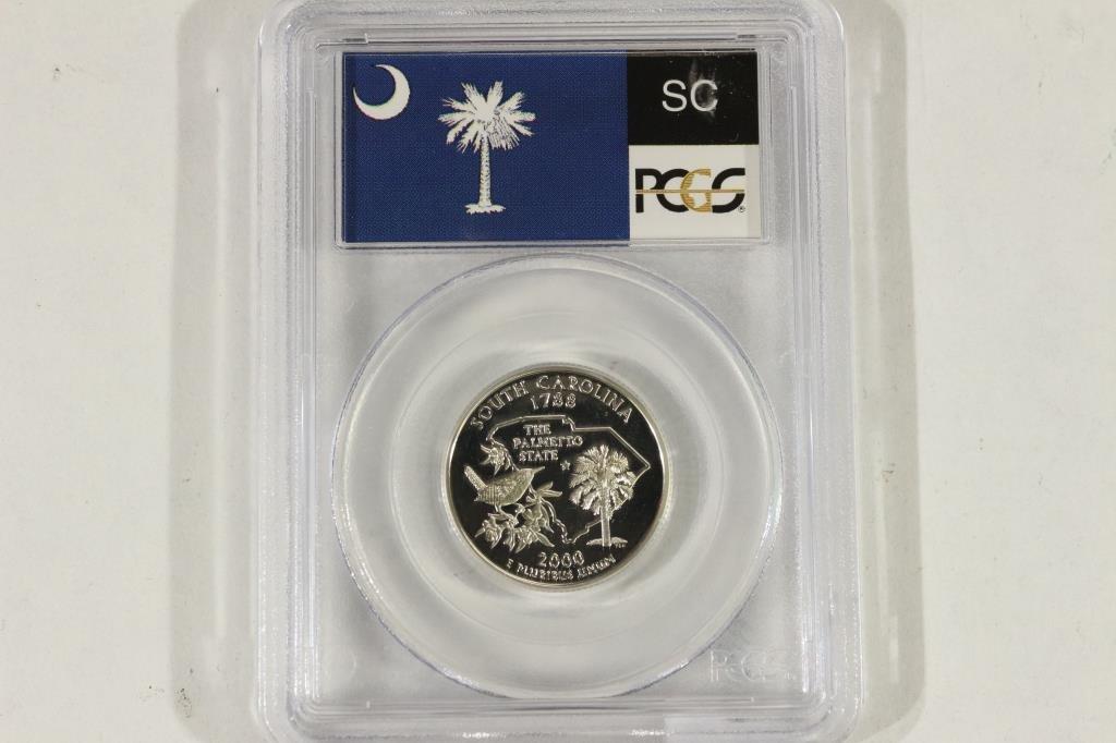 2000-S SILVER SOUTH CAROLINA QUARTER PCGS PR69DCAM - 3