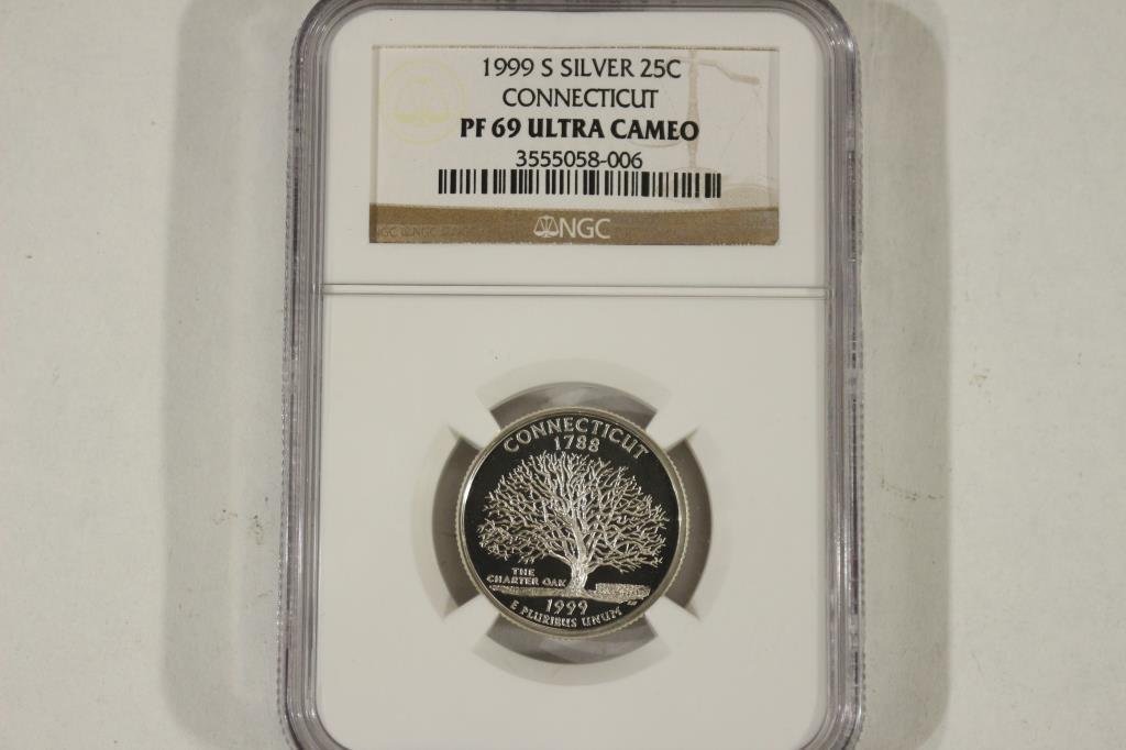 1999-S SILVER CONNECTICUT QUARTER NGC PF69 ULTRA
