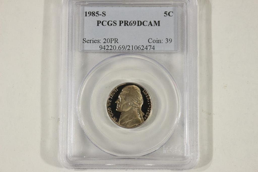 1985-S JEFFERSON NICKEL PCGS PR69 DCAM