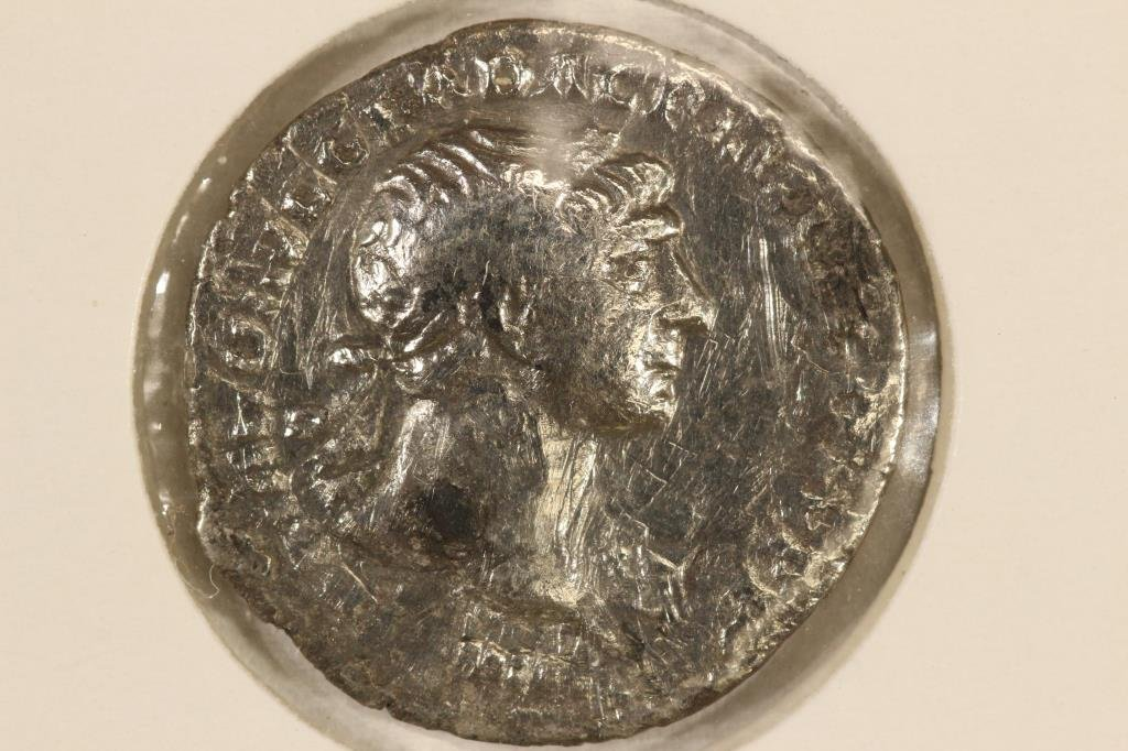 SILVER 98-117 A.D. TRAJAN ANCIENT COIN (FINE)