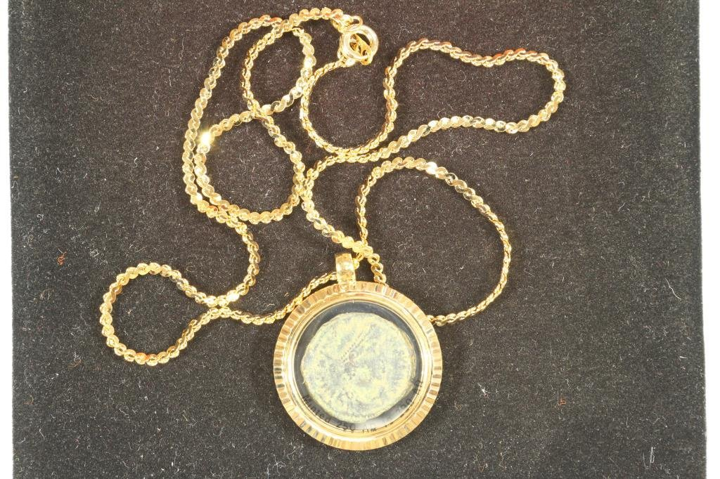NICE NECKLACE WITH ANCIENT COIN MINTED BETWEEN