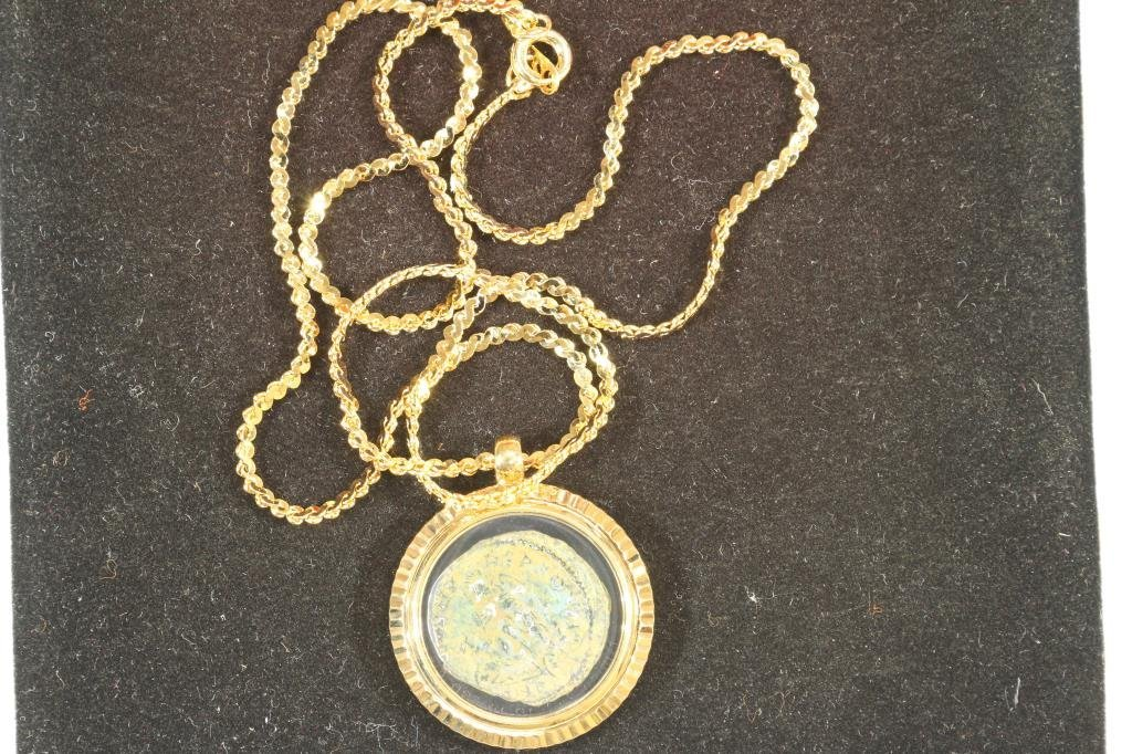 NICE NECKLACE WITH ANCIENT COIN MINTED BETWEEN - 2
