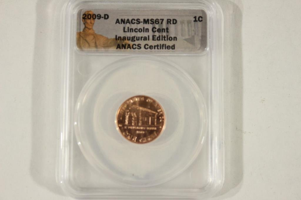 2009-D LINCOLN CENT INAUGURAL EDITION ANACS MS67RD