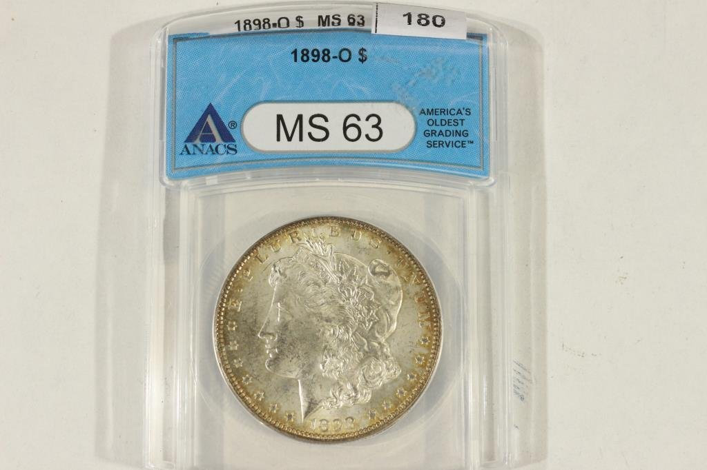 1898-O MORGAN SILVER DOLLAR ANACS MS63