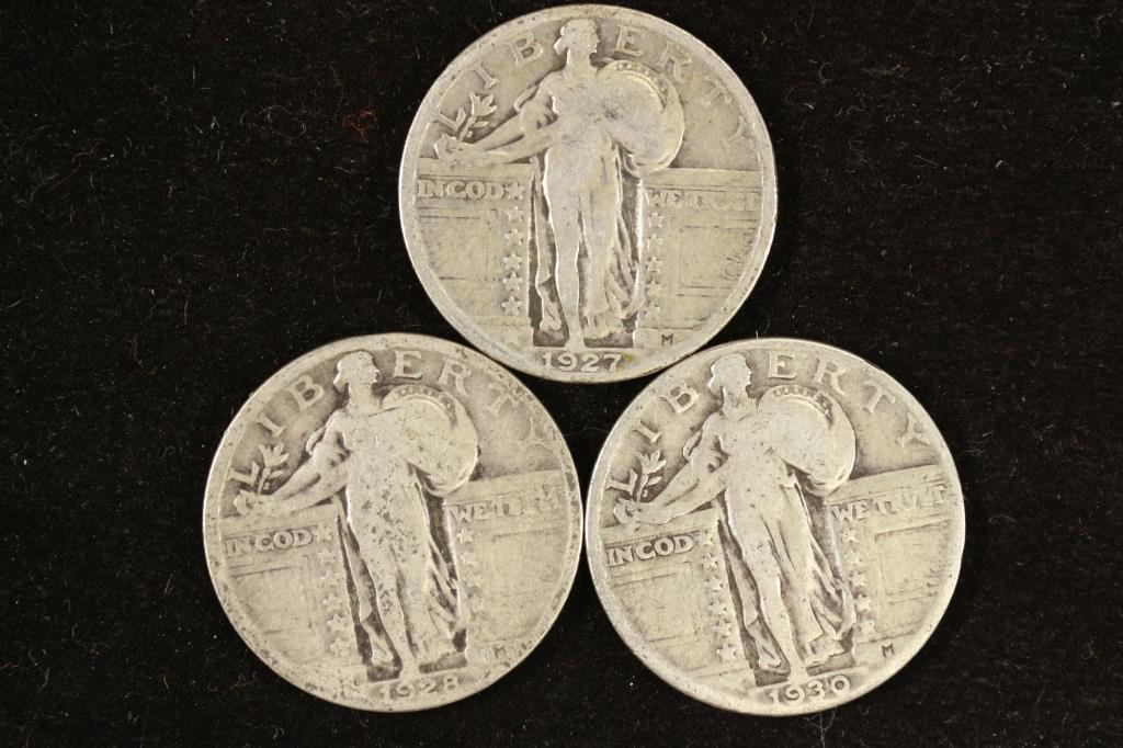 1927,28 & 30 STANDING LIBERTY QUARTERS