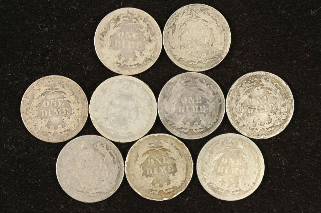 9 ASSORTED 1880'S SEATED LIBERTY DIMES - 2