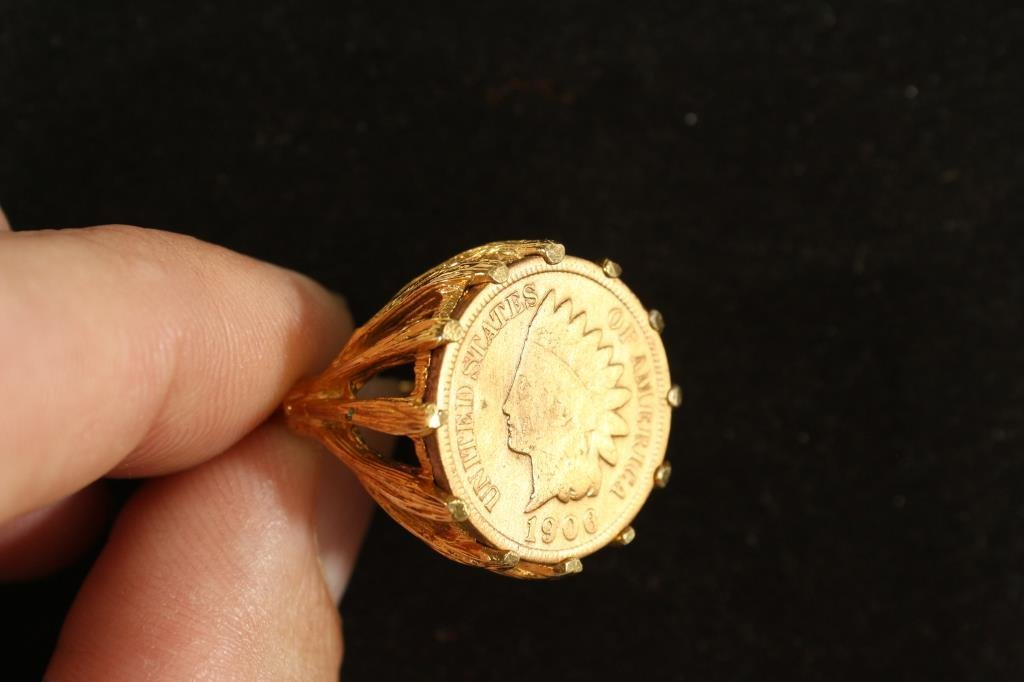 18KT. H.G.E. GOLD RING WITH 1906 INDIAN HEAD CENT