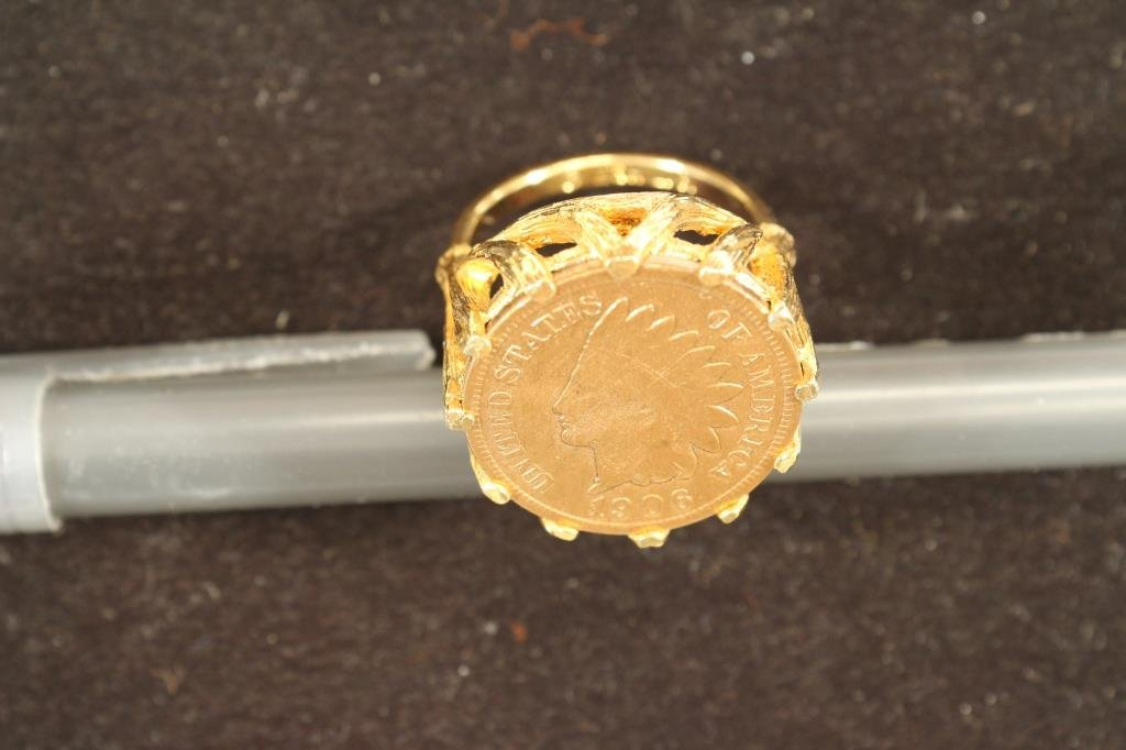 18KT. H.G.E. GOLD RING WITH 1906 INDIAN HEAD CENT - 3