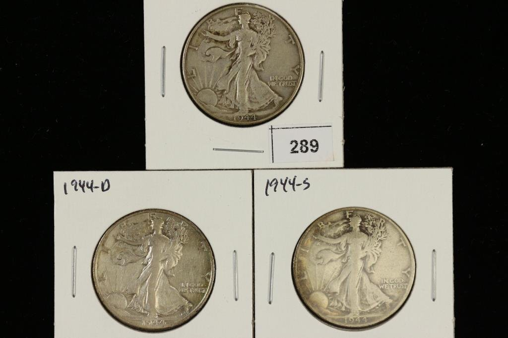 1944-P/D/S WALKING LIBERTY HALF DOLLARS