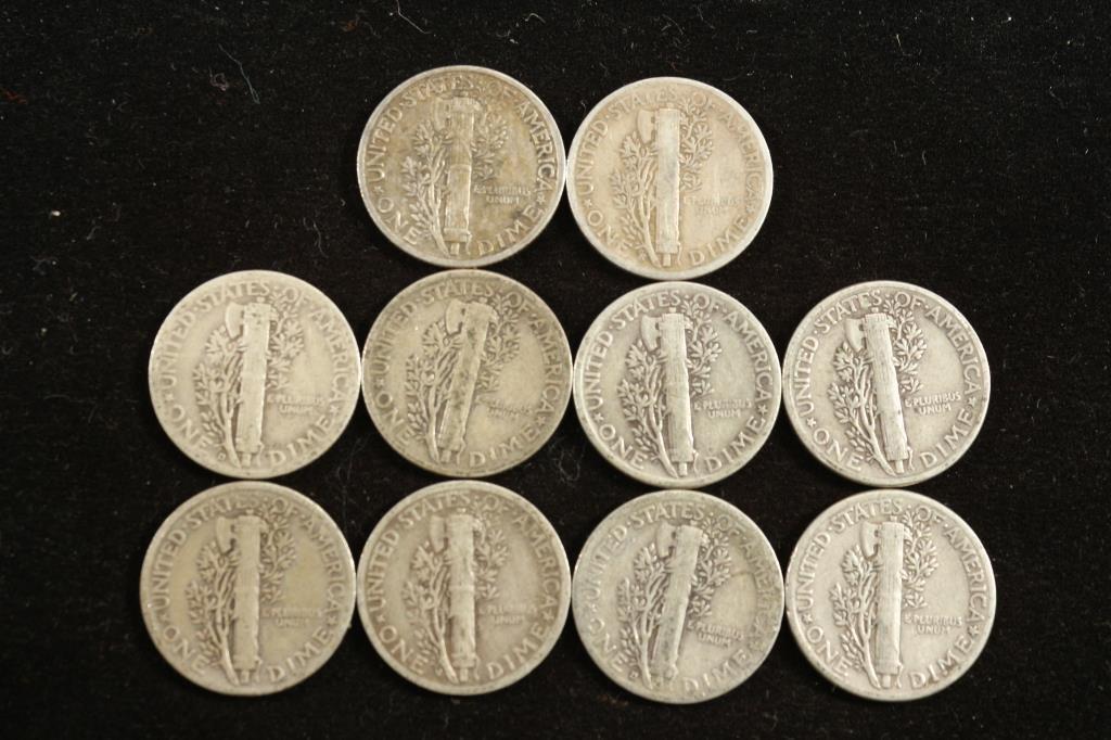 10 ASSORTED 1940'S MERCURY DIMES - 2