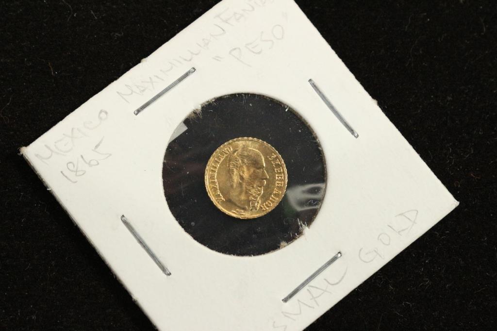22KT GOLD 1865 MEXICO MAXIMILLIAN FANTASY PESO