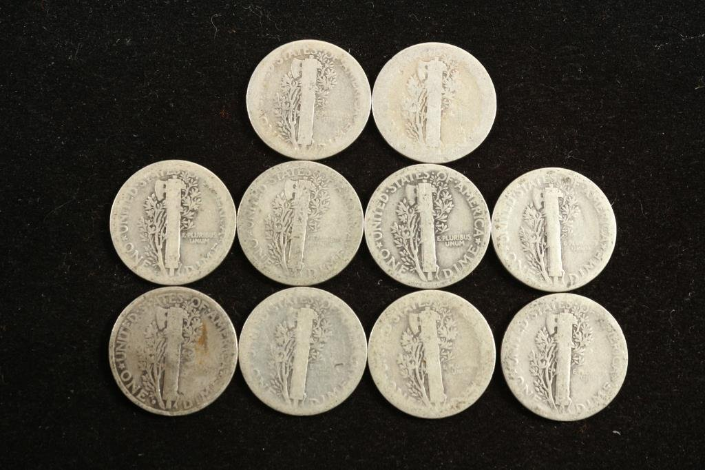 10 ASSORTED 1920'S MERCURY DIMES - 2