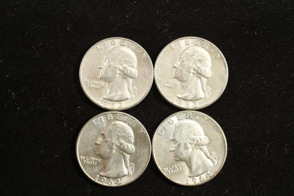 4 ASSORTED WASHINGTON SILVER QUARTERS