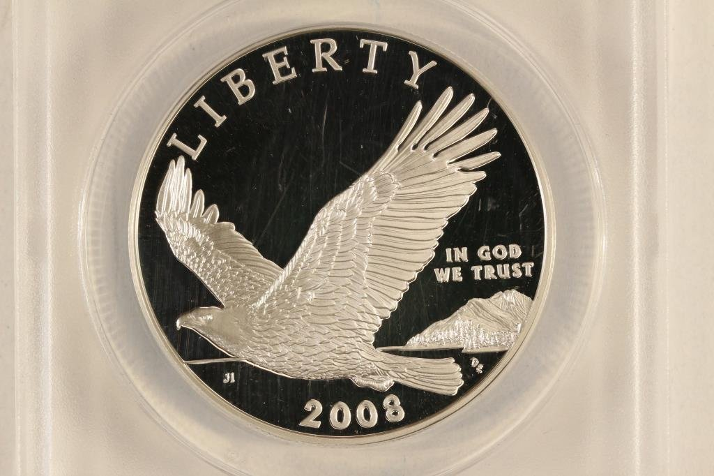 2008-P BALD EAGLE SILVER DOLLAR ANACS PR70 DCAM