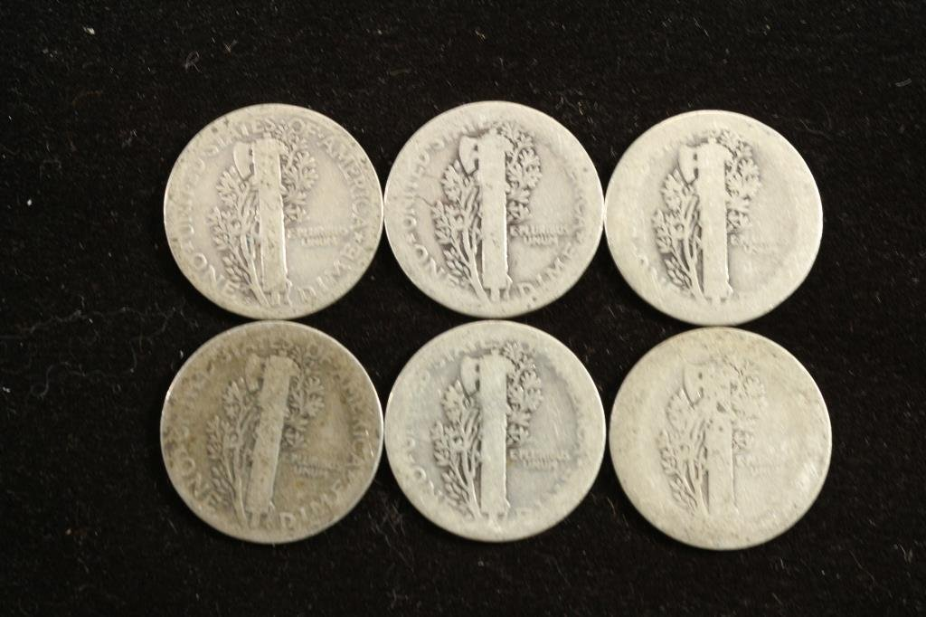 6 ASSORTED TEEN'S MERCURY DIMES - 2