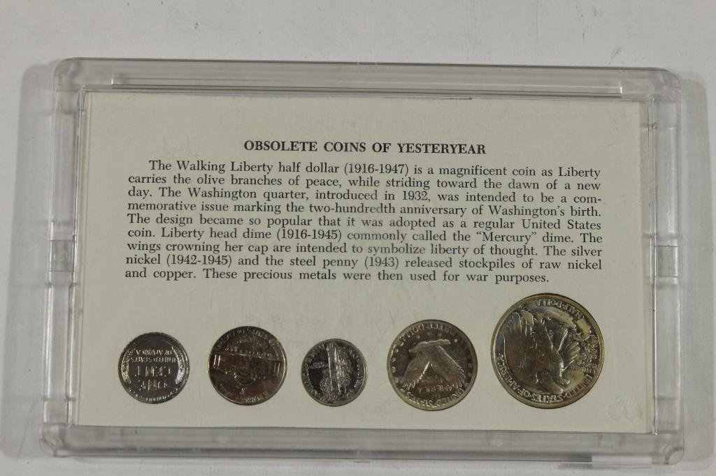 OBSOLETE COINS OF YESTERYEAR INCLUDES: WAR NICKEL, - 2