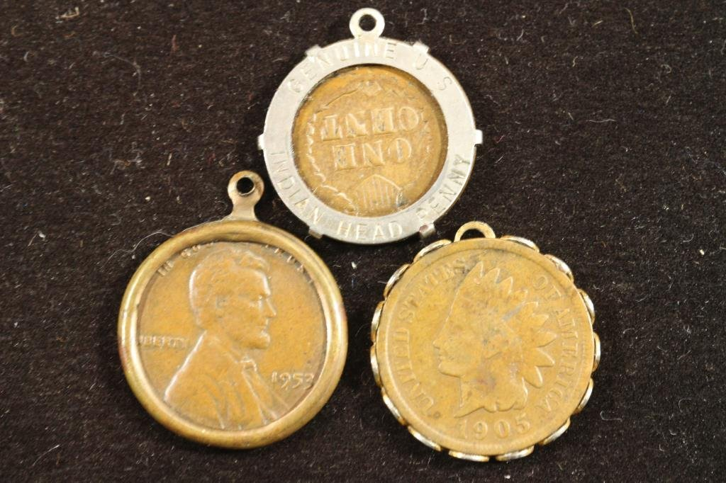 3 ASSORTED PENDANTS 1900 INDIAN HEAD CENT, 1905